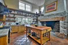 Fabulous farmhouse kitchen with stone hearth - Lambertville, NJ