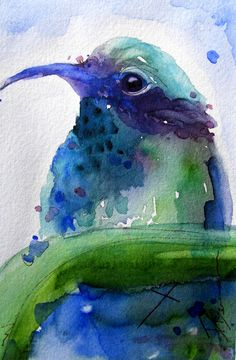 Watercolor Art Print of Hummingbird
