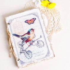 """Cuaderno de tela """"Pajaros"""" para bodas"""