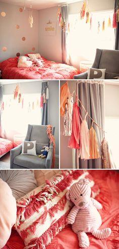 Sweet, Girly Nursery #coral #grey #baby #nursery #diy #design #decor