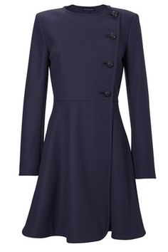 French Connection wool-blend coat is a neat ladylike silhouette. Wear with a structured tote bag and killer heels to show you mean business! Wonderland flared coat is collarless and has a side-fastening button placket at front, interior button fastening, two side-slit pockets and a flared skirt. This coat is fully lined. #fcuk
