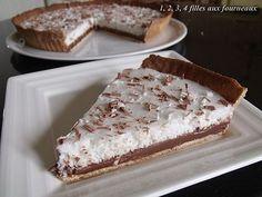 TARTE AU CHOCOLAT / MOUSSE COCO (Pâte : 120 g de beurre mou, 80 g de sucre glace, 1 gousse de vanille, 25 g de poudre d'amandes, sel, 1 oeuf entier, 200 g de farine) (GANACHE CHOCO : 20 cl de crème, 200 g de chocolat noir) (MOUSSE COCO : 20 cl de lait de
