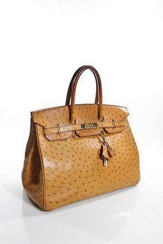 1185de6a37 AUTH HERMES Gold Ostrich 35 cm Birkin Handbag Big Purses