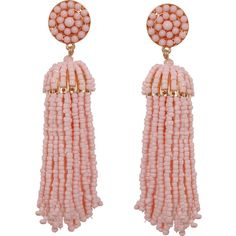 Humble Chic NY Soircb)e Tassel Earrings ($34) ❤ liked on Polyvore featuring jewelry, earrings, petal pink, tassel earrings, pearl dangle earrings, pink earrings, dangle earrings and long earrings
