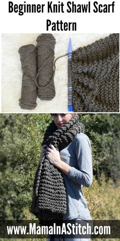 Big Beginner Knit Shawl – Scarf Pattern via @MamaInAStitch This is an easy scarf knitting pattern and works up fast on hig needles! #diy #crafts