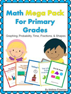 HUGE MATH RESOURCE!  This 225 page pack covers 5 units - Graphing, Probability, Fractions, Telling Time, and 2D & 3D Shapes! GREAT VALUE!  $