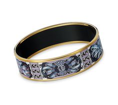"Rubans de Cheval  Hermes wide printed enamel bracelet    Gold plated, 1"" wide, 2.5"" diameter."