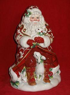 Fitz Floyd Town Country Cookie Jar Santa Claus Centerpiece Christmas Decor New   eBay