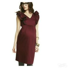 NWT Burgundy Maternity Event Dress Super cute burgundy maternity dress! Dress falls about knee length, has super cute ruffles on the shoulders with a leather type material trim, really thick luxurious fabric, v-cut neck line. Pulls close at the waist with a side hook and zipper. Great dress for a fancy occasion. This is a reposh. I bought it for a holiday party but didn't end up needing to dress up. More of Me Maternity Dresses