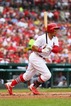 Jon Jay hits a two RBI single against the Padres in the first inning. Cards won the game 7-6.  8-17-14