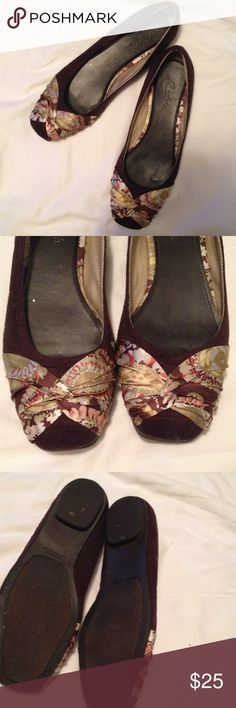 Paisley print Silk ribbon accented flats  Worn once inside.  Simply the wrong size for me, but I wanted them so badly.  They are gorgeous!  Please let them get out and see the world! Candie's Shoes Flats & Loafers
