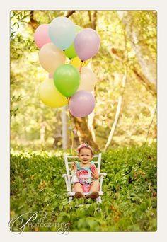 Idea para una producción de fotos por el 1er cumpleaños - 1st birthday picture idea.