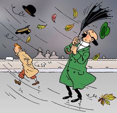 Tintin outsmarting Prof. Barbaros in a storm #umbrella