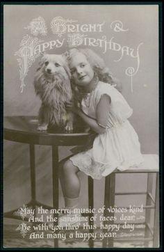 Deco Child Girl Pomeranian Spitz Dog original vintage old 1920s photo postcard