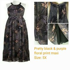 Black N Purple floral print maxi Black N Purple floral print maxi , dress is fully lined, has a self tie belt, peep hole back opening, 2 small buttons in back, zipper closure,  elastic waist, ruffled bottom, scooped neckline, sleeveless, side slits,  Size : 5X  fits true to size. Can also fit 3X -to 5X  has plenty of stretch, very flowing maxi. reposhed. Eshakti Dresses Maxi