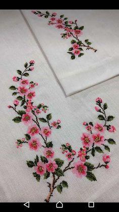 Cross Stitch Borders, Cross Stitch Rose, Cross Stitch Flowers, Cross Stitch Embroidery, Hand Embroidery Design Patterns, Flower Embroidery Designs, Palestinian Embroidery, Organic Art, Crochet Bedspread