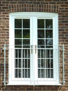 White French Doors with Georgian Bars for Juliet Balcony Upvc French Doors, French Doors Patio, Sliding Patio Doors, Juliette Balcony, Balcony Doors, Porch And Balcony, Bedroom Balcony, Door And Window Design, Balcony Design