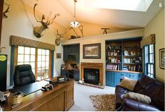 The home office of Shawn Garman, Vice President of Garman Builders, showcases traditional Lancaster County farmhouse-style built-in cabinetry. Photography by Eric Forberger.