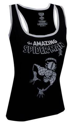 Marvel Comics Amazing Spiderman Racer Back Tank Top Looks like the Amazing Spiderman is coming for you! This 60% cotton, 40% po...
