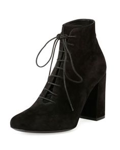 Babies+Suede+Lace-Up+Bootie,+Black+by+Saint+Laurent+at+Bergdorf+Goodman.