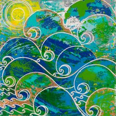"Pacific Tide 20""x20"" Abstract Impasto Acrylic original art work by Mixed Media Artist Cristina Sayers"