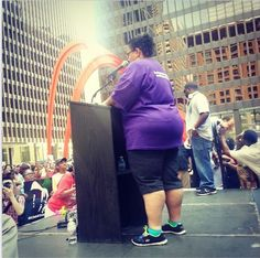 Erica Gordon Watson, cousin of Emmett Till speaking on behalf of her family at the Justice For Trayvon vigil in Chicago. July 20, 2013