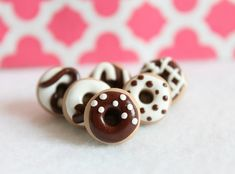 Polymer Clay Chocolate Donut Pushpins Set of 6 by Emariecreations