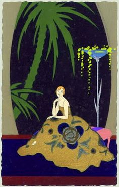 Postcard - via the amazing site:  metropostcard - Giovanni Meschini   1888-1977  - After World War One he would set up the Ars Nova Studio that produced vast quantities of pochoir postcards.