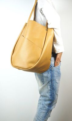 Camel Leather Tote Bag with Exterior by NeroliHandbags on Etsy