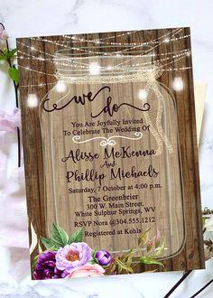 Rustic Mason Jar Wedding Invitation  Floral Invite  Lights