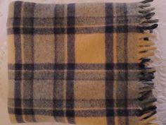 Vintage Wool Tan/Grey/Navy Plaid Blanket with Fringe