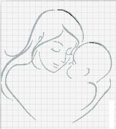 point de croix femme avec enfant , cross stitch woman with a child