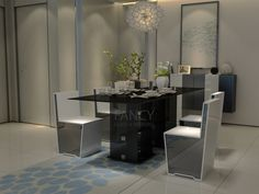 PRINTEMP GLASS DINING TABLE This Printemp table is an oversized glass dining table. Its tempered glass table top has stylish beveled edge. The four base glass panels are firmly fixed together with the help of Glass to Glass corner clamps. The lower base panels are placed on standoff bases and it makes this oversized glass dining table steady and well balanced. It will be a great embellishment for your living space.