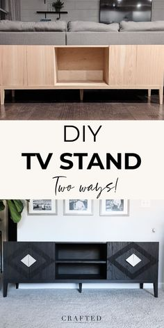Looking for a modern TV stand to add to your living room? These step-by-step plans will walk you through exactly how to make your own DIY TV stand. Keep the doors sleek and modern or add some fun details to make a truly one-of-a-kind TV console! #diyfurniture #diytvstand #tvconsole #modernfurniture Diy Furniture Tutorials, Diy Furniture Plans Wood Projects, Beginner Woodworking Projects, Diy Woodworking, Modern Media Cabinets, Do It Yourself Decorating, Make It Yourself, Diy Tv Stand, Diy Nightstand