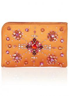 Orange Satin Kissy Clutch Bag - Bags - Matthew Williamson