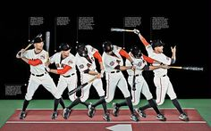 """A """"sequence photo"""" of HUNTER PENCE for ESPN Magazine's """"perfect"""" issue.  On his unorthodox batting stance and swing: """"I really liked Barry Bonds when I was a kid, so I choked up because he choked up.  But he's the only person I've ever taken from."""""""