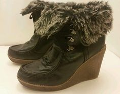 """Massimo Women's Size 8.5 leather faux fur navy blue wedge 4"""" heels winter boots"""