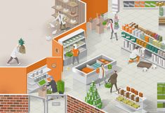 Nils-Petter was commissioned by Stockholm Creative Partner to visualize the benefits of Atea's IT services - depicted as a scene from a grocery store. With locally production (of eggs) Suppliers / data centers in cloud (man delivering pineapples), customer checking orders (self-service checkout), clear cost structure (ready picked groceries), modern technology - new hard drives etc (employee picks out expired products from shelves), employee helping customer (checking quality and helping…