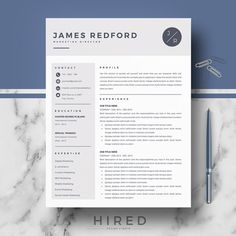 Modern Resume Template For Word And Pages     Page Resumes