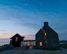 "reinhabited stone house in scotland - ""the crack house"". This mid-1700s house on the wind-whipped Scottish Isle of Coll has been revitalized by a contemporary renovation after being abandoned for 150 years.:"