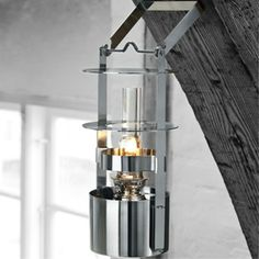 This would be so cute in a little log cabin!Ship's Kerosene Lamp Small by Stelton Home Lighting, Outdoor Lighting, Lamp Light, Light Up, Light Fixture, Verre Design, Hurricane Lanterns, Black And White Interior, Style