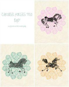 "CAROUSEL HORSES TRIO Vintage Inspired Prints 8x10"" / Girls Nursery Decor Girls Bedroom Art Doily Pastel Shabby Chic Cottage Chic Baby #Dream Cars  http://mydreamcarscollections.kira.lemoncoin.org"