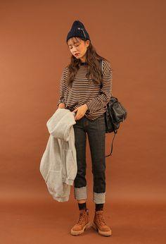 Loose Stripe Pattern Pullover | STYLENANDA