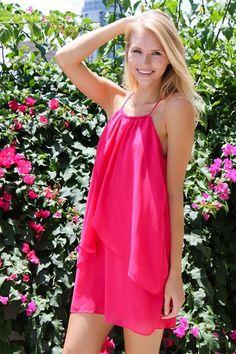 Flirty Flutter Dress in Fuchsia