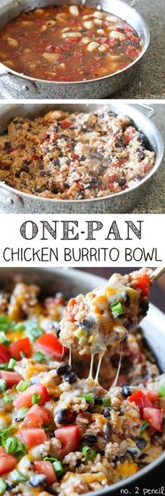 One-Pan Chicken Burrito Bowls I wonder how it would be to replace the rice with Quinoa, might have to give it a try!