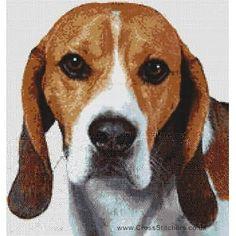 Beagle (Red and White) - Dog Cross Stitch Chart