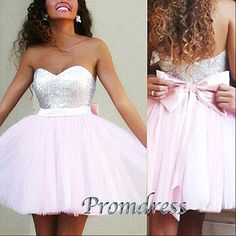 Sweetheart Sequins Short Homecoming Dress With Bowknot Cute Pink Prom Dress For Women Party