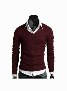 Man Slim Fit Burgundy V-Neck Sweater