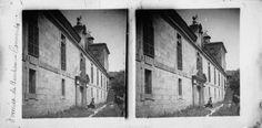 Mosteiro beneditino das bernardas. Ferreira de Pantón, Lugo. Ca. 1905. Imaxe estereoscópica. Placa de cristal con emulsión de bromuro lento e clorobromuro rápido. 8,9 x 17,8 cm.