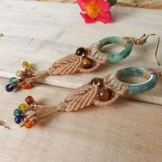 Macrame Earrings Owl Jade Quartz Stone Cotton Waxed Cord Handmade Brass Beads #Wrap